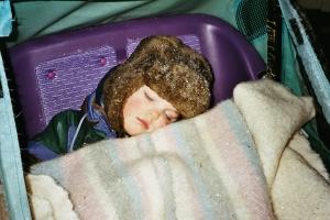Hugo har somnat i cykelvagnen 2000