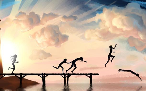 barn som hoppar från brygga
