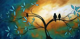 fåglar på ett träd