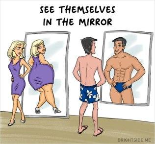 kvinna man tittar i spegeln