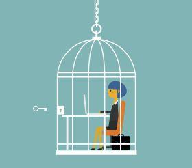 inlåst i bur