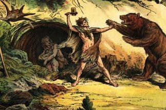 grottman slåss med björn