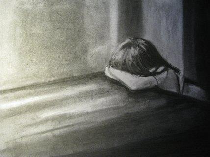 ledsen liten flicka